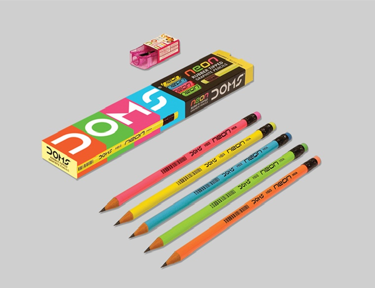 DOMS Neon Color Rubber Tip Pencils