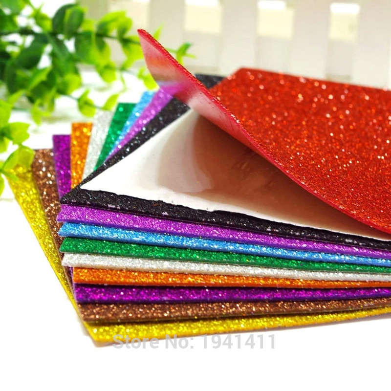 Glitter foam self adhesive sheet assorted color for Red craft foam sheets