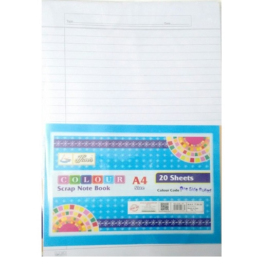 A3 Pastel White One Side Ruled 20 Sheets