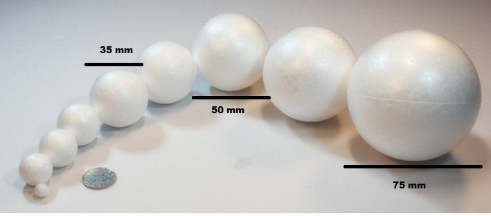 Craft Styrofoam - 4 Balls (50 mm Dia)