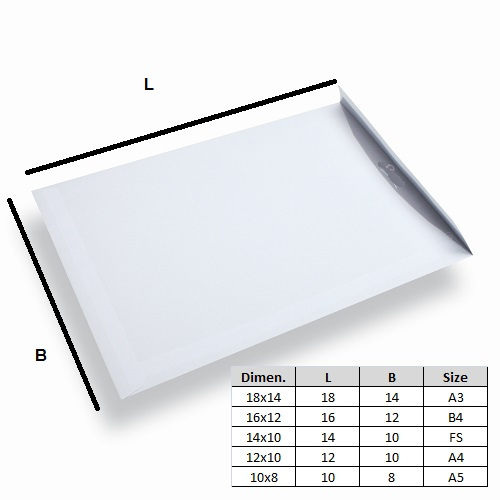 White Laminated Envelope 14x10 Pack of 25